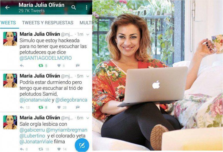 Anoche hackearon a María Julia Oliván en Twitter: Simulo que estoy hackeada...