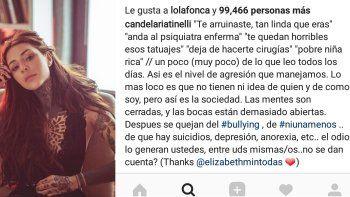 Candelaria Tinelli y un alegato contra el ciber bullying: El odio lo generan ustedes