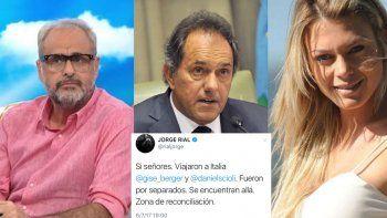 Rial afirmó que Daniel Scioli y Gisela Berger están juntos otra vez: viaje de reconciliación