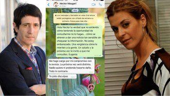El duro cruce por chat entre Eugenia Tobal y el director de la revista Caras por la desmentida del embarazo