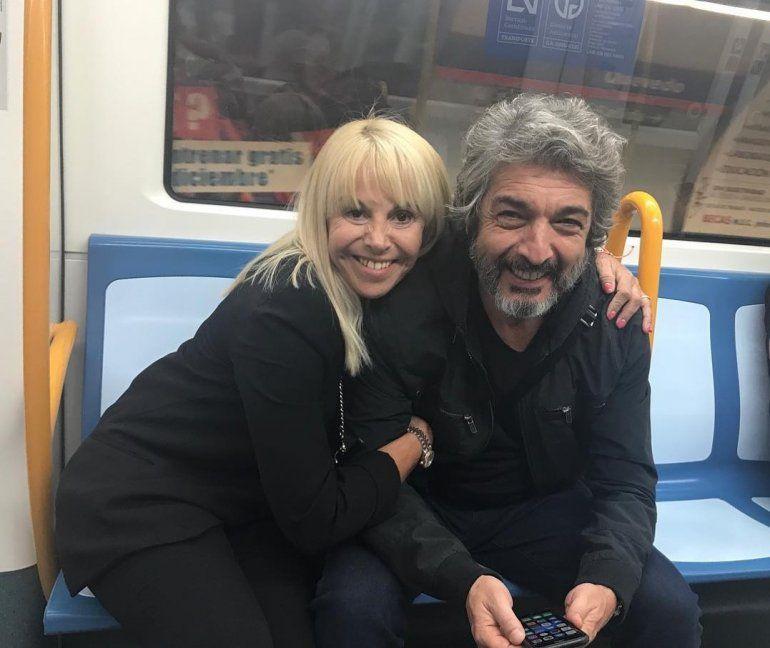Darín y Claudia Villafañe: Con mi hermanito del alma en el metro de Madrid