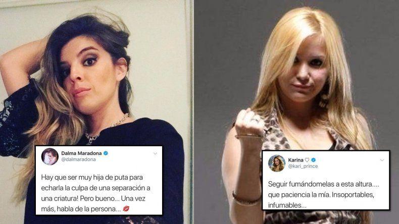 Guerra entre las Maradona contra Karina: Hay que ser muy hija de pu.. y La Princesita responde: Infumables