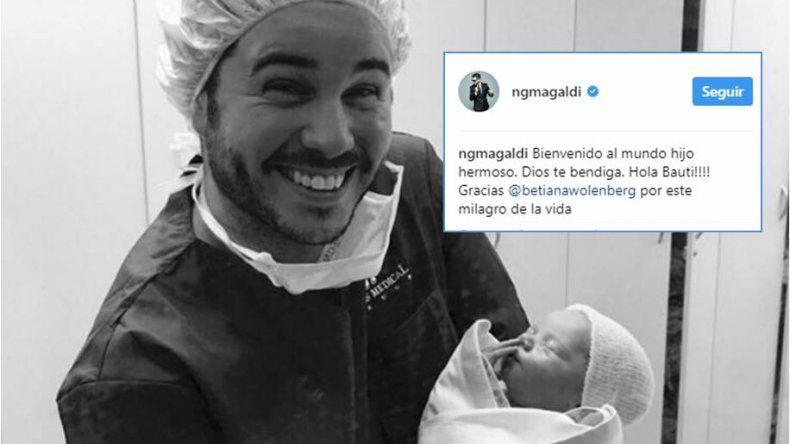 Nicolás Magaldi fue papá junto a Betiana: Estamos felices; Bauti es un sol