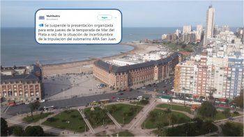 Presentación temporada Mar del Plata: se suspendió la fiesta por el submarino perdido