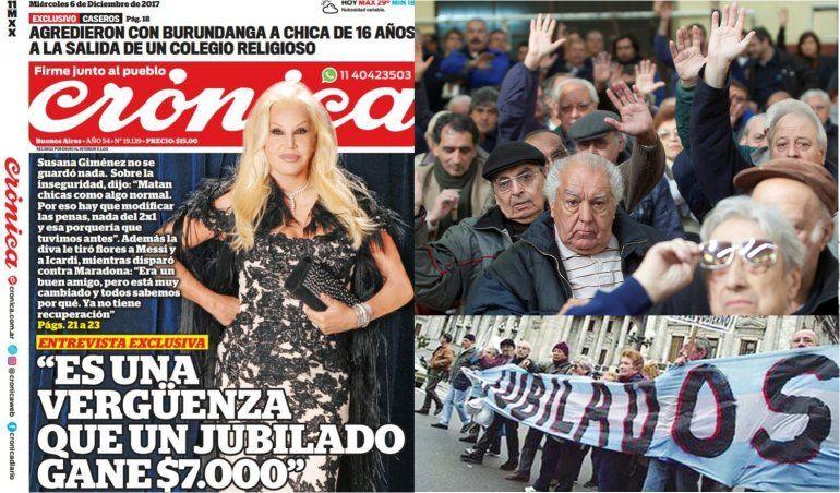 Susana Giménez dura con el gobierno: Es una vergüenza que un jubilado gane 7000 pesos