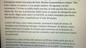 Telenoche no es María Laura ni Santo: el párrafo de la nota de La Nación que molestó y borraron
