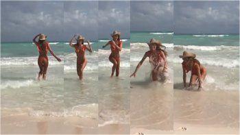Un tropezón no es caída: Pampita quiso hacerse la sexy en el mar y se pegó flor de porrazo