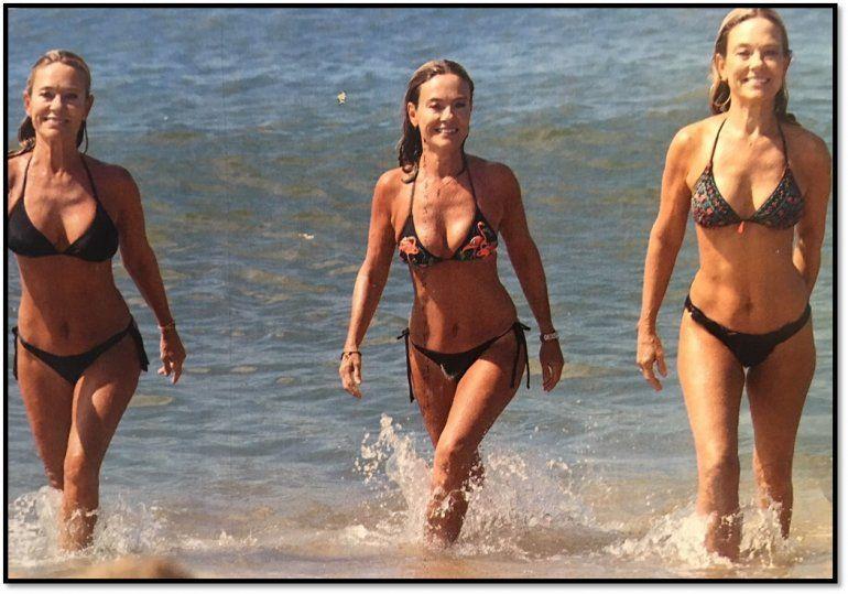 Qué enteras que están las Trillizas!: Con casi 60, salen del mar en bikini y posan sin photoshop