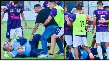 Luis Ventura recibió una golpiza en un partido de fútbol y terminó en el suelo