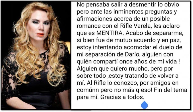 Después de varios días Esmeralda Mitre desmintió el romance con Rifle Varela