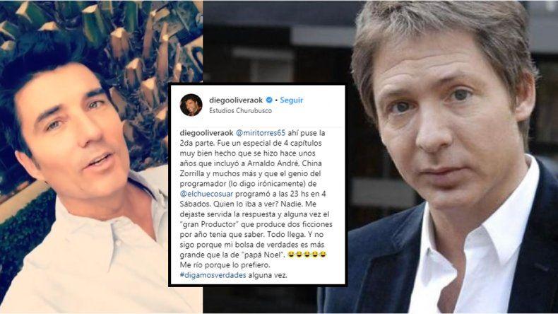 El enojo de Diego Olivera con Suar: Todo llega; mi bolsa de verdades es más grande que la de Papá Noel
