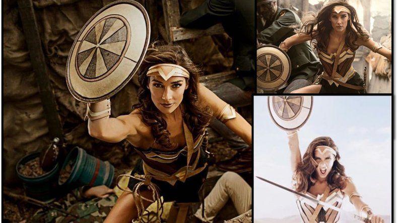 La producción de fotos de Juanita Viale como la Mujer maravilla de la Liga de la Justicia