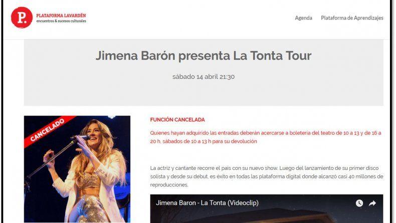 Jimena Barón suspende show a lo largo de todo el país: ¿escasa venta de entradas?