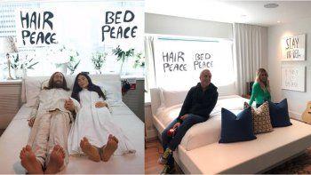 Flor Peña y Marley en la habitación en Montreal que usaron John Lennon y Yoko Ono
