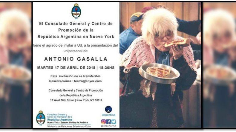 Gasalla finalmente llega a Estados Unidos con su unipersonal: el martes próximo actuará en Nueva York