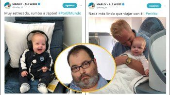 marley muestra lo feliz que esta su hijo viajando con el: para lanata que lo mira por twitter