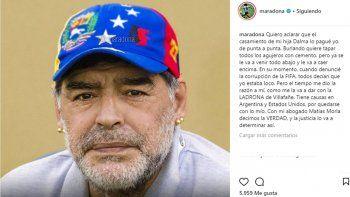 Maradona letal: El casamiento de Dalma lo pagué yo de punta a punta; Villafañe es una ladrona