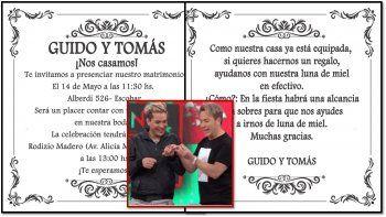 Las invitaciones de Guido y Tomasito: Boda en Escobar