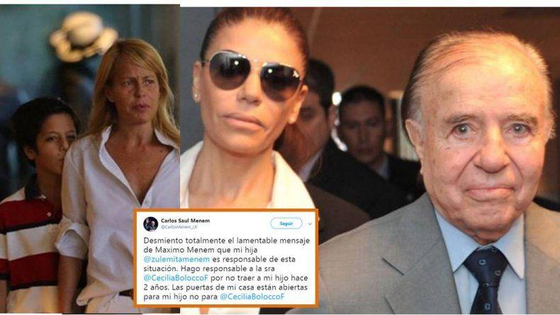 Carlos Menem salió a respaldar a su hija Zulemita: Desmiento el mensaje de mi hijo Máximo; la responsable es Bolocco