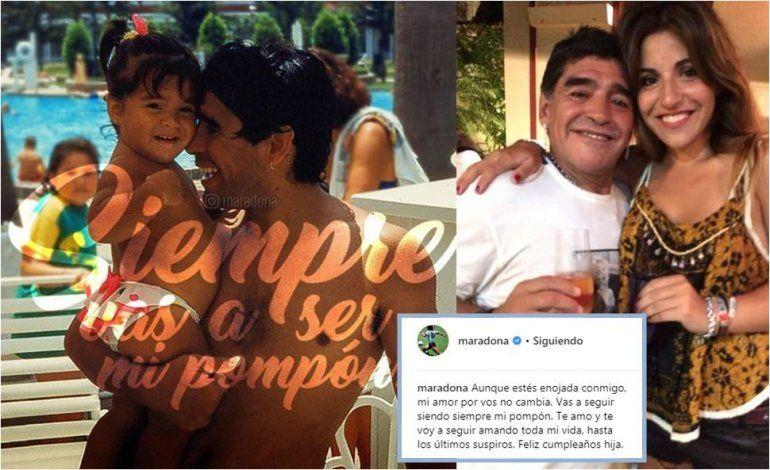 Diego Maradona y un cariñoso mensaje a Gianinna por su cumple: Aunque estés enojada conmigo...
