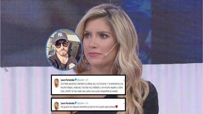 Laurita confirmó la separación por twitter: Con Fede decidimos intentarlo la última vez y no funcionó