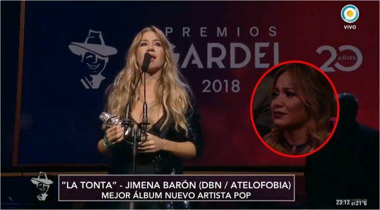 Las lágrimas de La Princesita, ante el emotivo discurso de Jimena Barón en los Premios Gardel: Brindo por menos tontas y más mujeres valientes