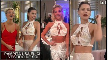 Pampita se pusó en su programa el criticado vestido de Sol Pérez en los Martín Fierro