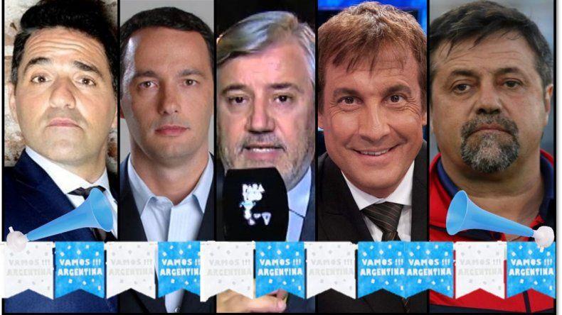 Polémica en el bar mundialista: Iúdica, Fernando Carlos, Alejandro Fabrri, Paulo Vilouta y Caruso Lombardi, a la mesa
