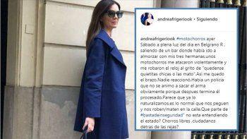 El descargo de Andrea Frigerio después de ser robada por motochorros: Fue muy violento