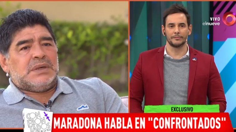 Maradona furioso; salió al aire en Confrontados para insultar al Chino y dijo: No me caso
