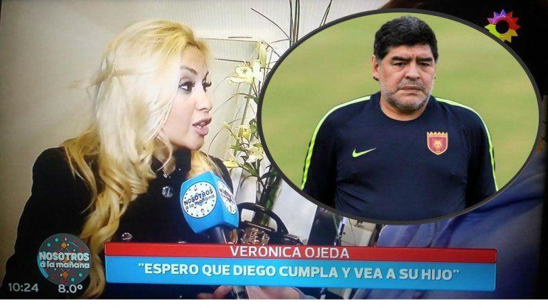 Después del plantazo de Maradona a su hijo, habló Verónica Ojeda: Que cumpla lo que promete