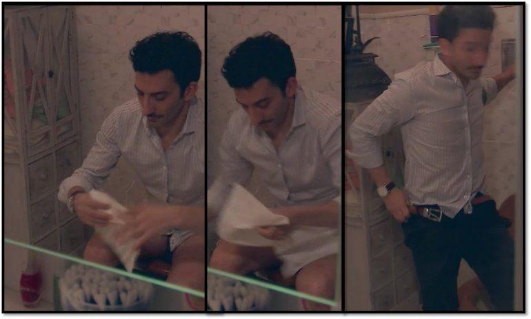 La escena escatológica de Juan Minujín en 100 días para enamorarse, limpiándose tras ir al baño
