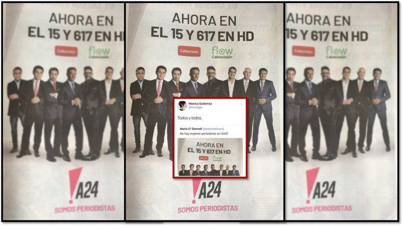 Por un aviso de A24 solo con sus conductores hombres, Mónica Gutiérrez se fastidió: Todos y todos
