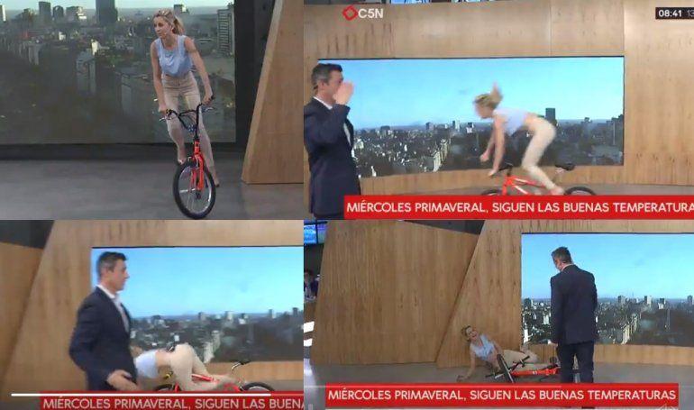 Mirá el porrazo de Maru Fernández con una bicicleta en vivo