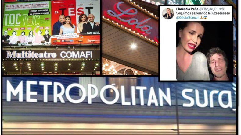 Enorme corte de luz en la zona de los teatros desató escándalos y devolución masiva de entradas: Flor Peña salió al cruce