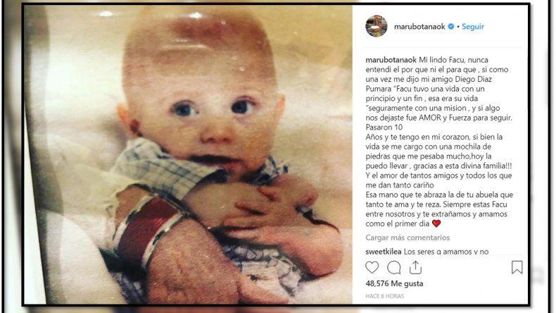 Maru Botana recordó a su hijo Facundo con un conmovedor mensaje
