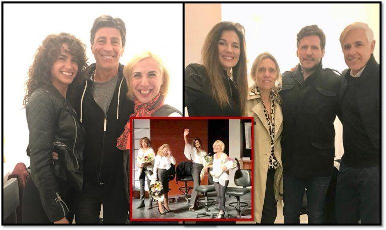 Andrea Frigerio y Florencia Raggi estrenaron con sus maridos, Lucas Bocchino y Nicolás Repetto, en la platea