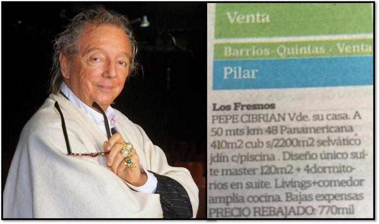 Pepito Cibrián publicó un clasificado con su nombre anunciando que vende su casa en 770 mil dólares