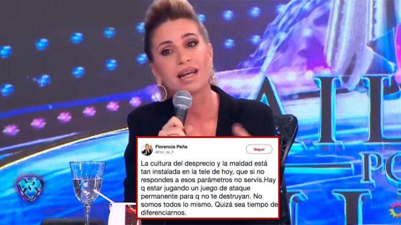 ¿Florencia Peña se baja del Bailando?; un misterioso tweet y ausente toda la semana la alejan de Tinelli