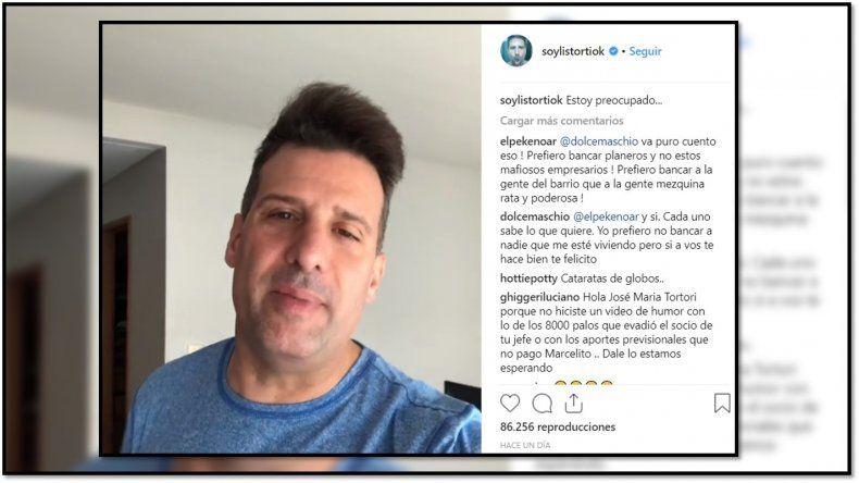 Listorti posteó un video haciendo una critica al aumento del gas y generó muchas criticas