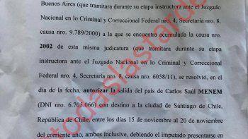 Carlos Menem autorizado por la justicia a viajar a Chile