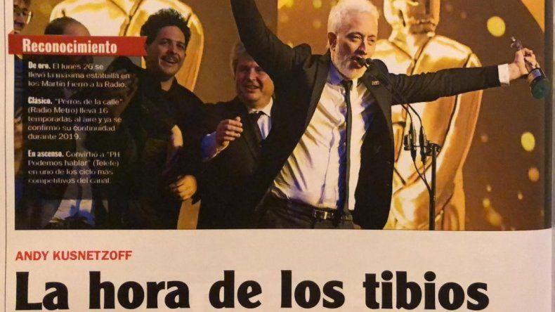 La hora de los tibios: Una revista tituló así el Martín Fierro de Oro a Andy y él les respondió Me chupa un huevo