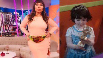 Polémica en las redes por una foto del nieto de Moria Casán vestido de princesa
