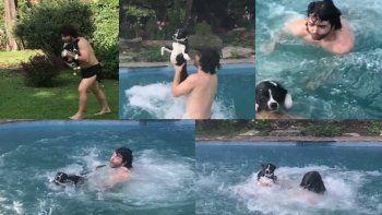 Destrozan en las redes a Nazareno Casero por tirarse a la pileta con su perro