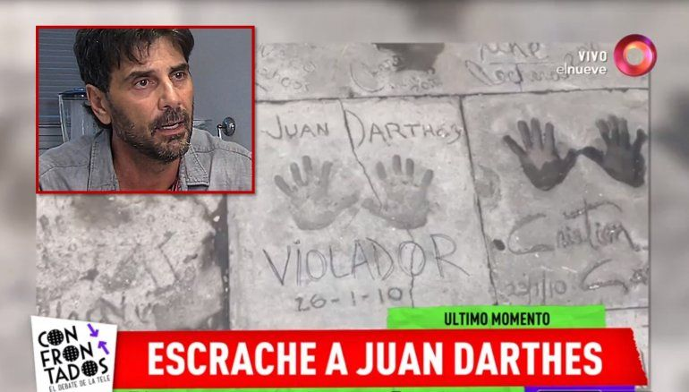 Escándalo en Mardel: escribieron la palabra violador en la baldosa de la fama de Darthés en el hotel Hermitage