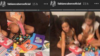 Para Nicole que lo mira desde Miami: Cubero y Mica eligieron los útiles escolares de sus hijas