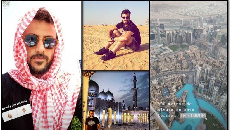 Las vacaciones de Diego Leuco: un soltero perdido entre rascacielos y desiertos