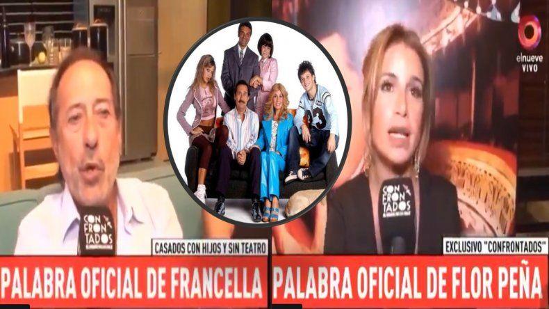 Peligra Casados con hijos en teatro: Flor Peña dijo que sí en 2020, pero Francella dice que no sabe