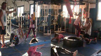 despues del escandalo con nicole, cubero muestra a sus hijas ejercitando en el gimnasio con un personal trainer
