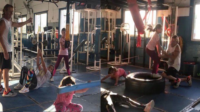 Después del escándalo con Nicole, Cubero muestra a sus hijas ejercitando en el gimnasio con un personal trainer